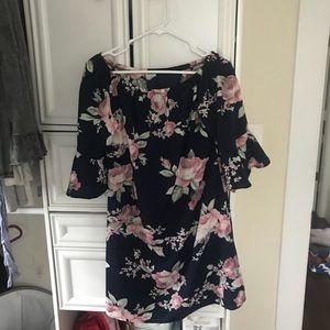Off the shoulder navy floral dress